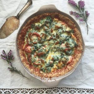 Green veggie-chicken quiche recipe
